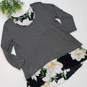 Bobeau Black White Stripe Floral Boho Top sz Small